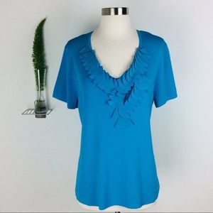 Cable & Gauge Stylish Wrinkle-Free Blue XL Top